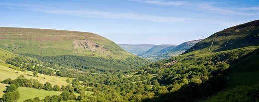 View south of northern section of Vale of Ewyas from near Gospel Pass, Brecon Beacons national park, Powys, Wales : Stock Photo