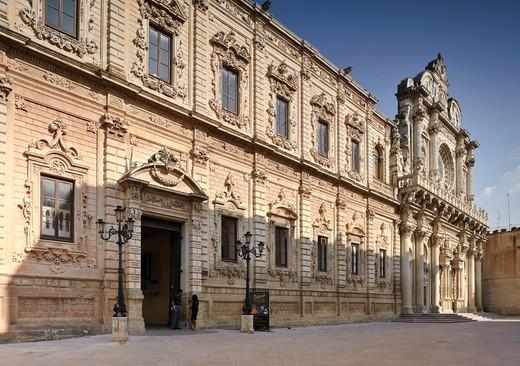 Palazzo dei Celestini 17th century and the Basilica of Santa Croce, Lecce, Puglia, Italy : Stock Photo