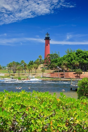 Jupiter Inlet Lighthouse, Jupiter, Florida, USA, Atlantic Ocean : Stock Photo