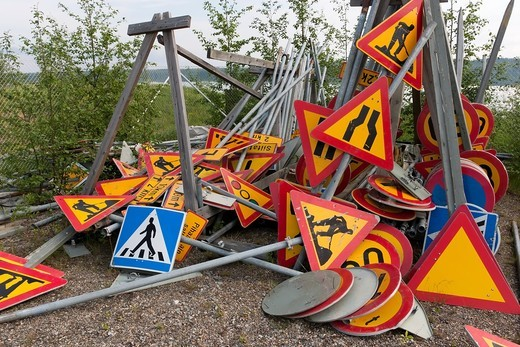 Stock Photo: 1566-641610 traffic signs storage pile