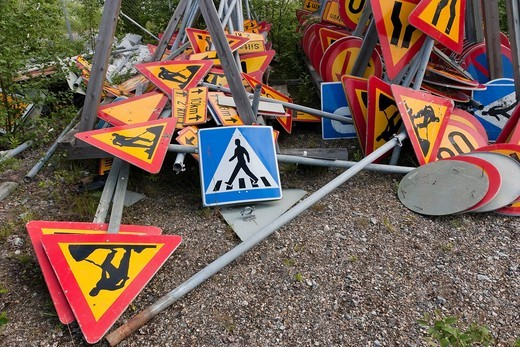 traffic signs storage pile : Stock Photo