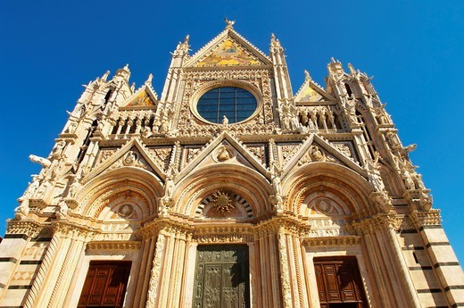 Cathedral- Detail of the facade Piazza del Duomo, Sienna Italy : Stock Photo