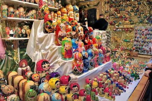 Paris, France, Christmas Shopping, Russian Dolls, Matriochka, Detail, at Traditional Christmas Market, : Stock Photo