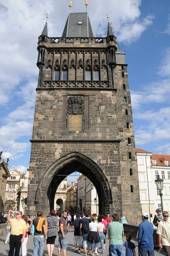 Stock Photo: 1566-642189 Tower of Staré Mesto in Carlos Bridge  Prague  Czech Republic  Gothic period  It watches the Access to the bridge from the right shore of Moldavia river  Its construction started at the end of the Fourteenth Century and was finished at Wenceslao IV's peri
