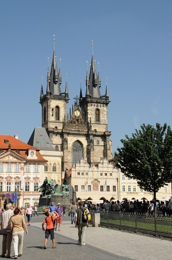 Stock Photo: 1566-642220 Our Lady of Tyn's Church Towers  Prague  Czech Republic  It is one of the Gothic constructions raised in the middle of the Fourteenth Century  With Baroque interior  In the inside there is the Astronomer Tycho Brahe's tomb, who died in 1601 of a bladder e