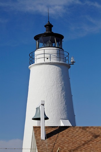 The Cove Point Light and its adjacent fog bell, Maryland : Stock Photo