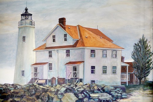 A mural of the Cove Point Light and rear exterior of the keepers' residence on the wall of a seafood restaurant on Solomons Island, Maryland : Stock Photo