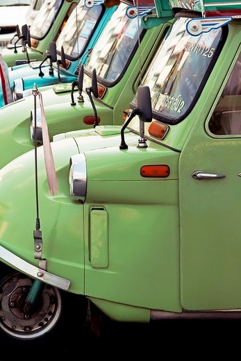 Stock Photo: 1566-642769 A tuk tuk taxi rank in Trang, Thailand
