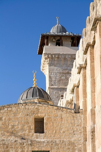 Stock Photo: 1566-642772 The Ibrahim Mosque, Cave of Machpela also called Tomb of the Forefathers or Cave of the Patriarchs in Hebron, Palestine