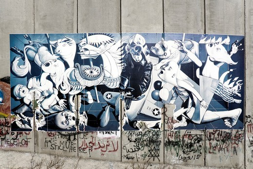 A poster on the separation wall, Palestine : Stock Photo