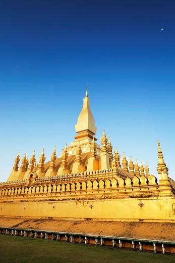 Pha That Luang Pha Tat Luang, Vientiane, Laos : Stock Photo