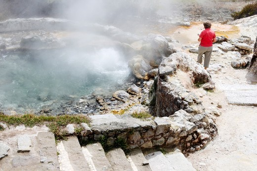 Stock Photo: 1566-642925 Tourist near hot springs at Furnas on Sao Miguel island in The Azores
