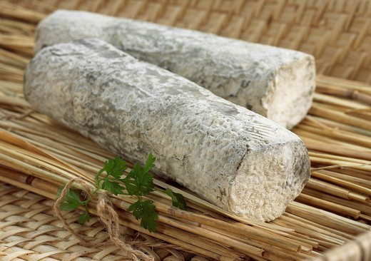 SAINTE MAURE CHEESE, A FRENCH CHEESE MADE FROM GOAT´S MILK : Stock Photo