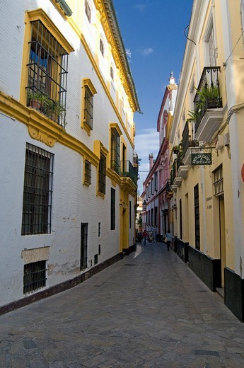Stock Photo: 1566-644087 Narrow street in Seville, Andalucia, Southern Spain