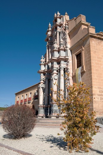 Basilica-Santuario de la Santisma y Vera Cruz within the castle walls at Caravaca de la Cruz, Murcia, Spain : Stock Photo