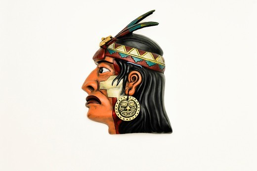 Wall mask of Indian face, Peru,South America : Stock Photo