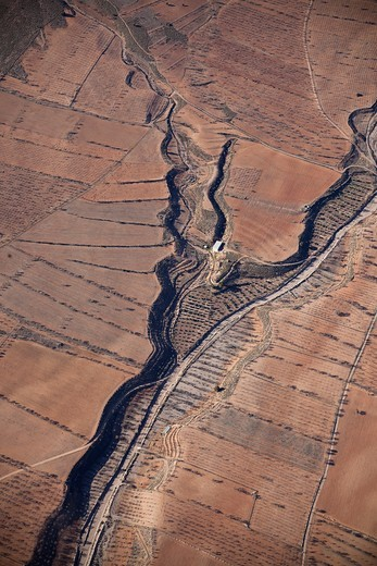 Soil textures of the fields from the air : Stock Photo