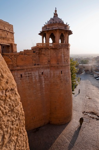 Tower at the entrance to Jaisalmer Fort in Rajasthan,India : Stock Photo