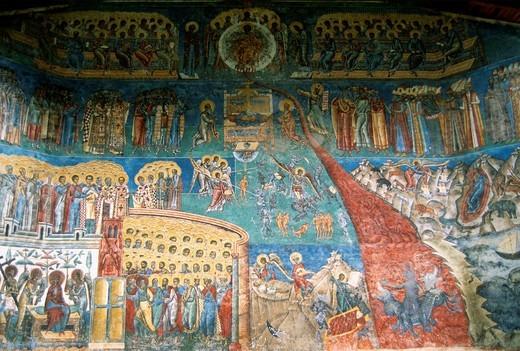 Romania, Bucovina, Voronet Monastery, fresco, : Stock Photo