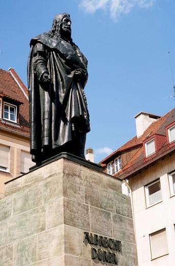 Germany, Bavaria, Nürnberg, Albrecht Dürer statue, : Stock Photo