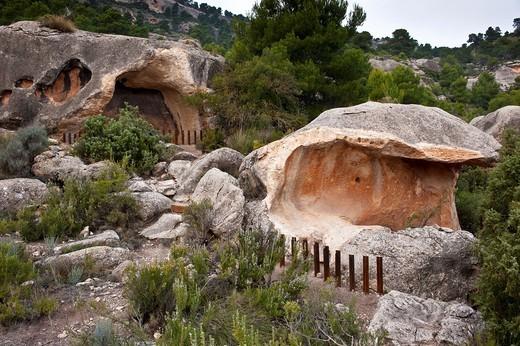 Cave paintings, Cantos de Visera, Monte Arabí, Yecla, Murcia province, Spain : Stock Photo