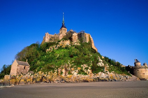 Mont Saint Michel, view with convent, built: 1017 - 1520, exterior view, Europe, Normandy, Benedictine abbey, monastery, World Heritage Site, consecrated to archangel Michael, founded in 708,Basse-Normandie region, Normandy, France, Europe : Stock Photo