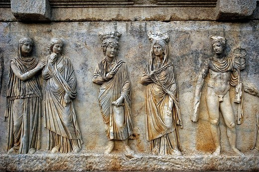 Stock Photo: 1566-647565 Sarcophagus, ruins of Aphrodisias. Turkey