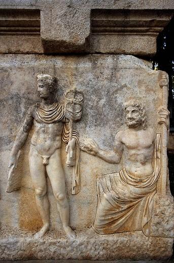 Stock Photo: 1566-647566 Sarcophagus, ruins of Aphrodisias. Turkey