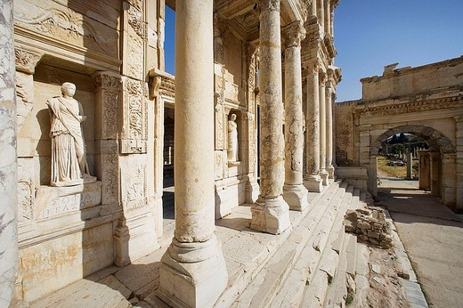 Stock Photo: 1566-647579 Library of Celsus, ruins of Ephesus. Turkey