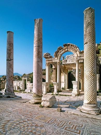 Stock Photo: 1566-647649 Temple of Hadrian, ruins of Ephesus. Turkey
