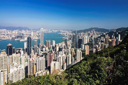 Hong Kong Island and Kowloon, Hong Kong, China (November 2008) : Stock Photo