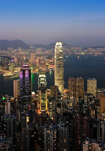Hong Kong Island and Kowloon in background, Hong Kong, China (November 2008) : Stock Photo