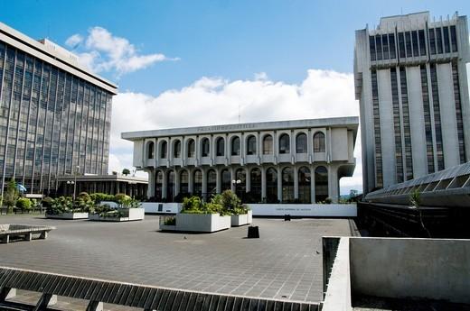 Guatemala. Guatemala city. Civic Center. Zone 1. Palace of Justice and Ministry of Finance. : Stock Photo