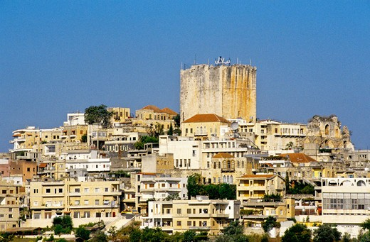 Ancient city and fortress built by French crusaders, Safita . Syria : Stock Photo