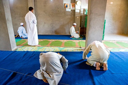 Friday prayer at a small local mosque. Oasis of Bahariya. Egypt : Stock Photo