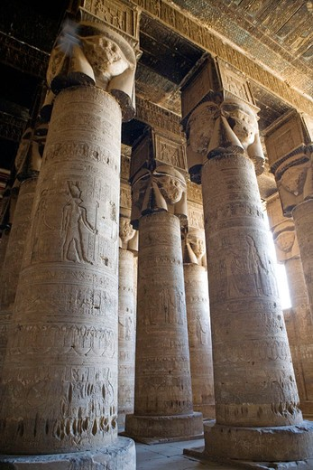 Stock Photo: 1566-648654 Denderah Temple dedied to goddess Hathor and built 54-29 BC under greco-roman influence. Egypt