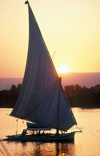 Stock Photo: 1566-648786 Felucca on Nile River. Luxor, Egypt