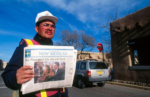 Indian papers seller in Santa Fe. New Mexico. South West. USA. : Stock Photo