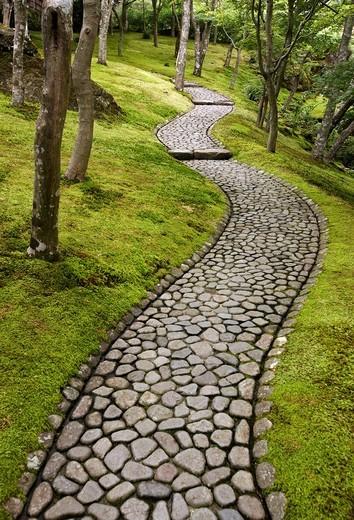 Stock Photo: 1566-649283 Moss Garden, Hakone Museum of Art, Hakone, Kanagawa, Japan.