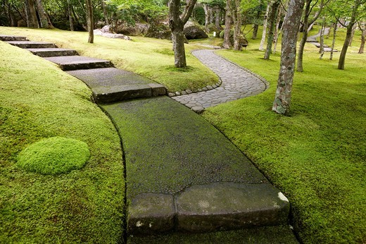 Moss Garden, Hakone Museum of Art, Hakone, Kanagawa, Japan. : Stock Photo
