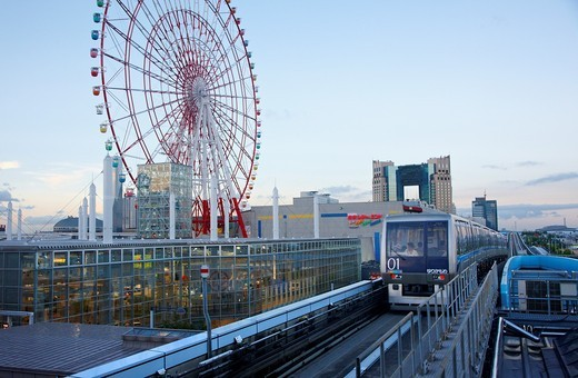 Stock Photo: 1566-649540 Yurikamome line, Monorail train, Palette Town, Odaiba, Tokyo, Japan.
