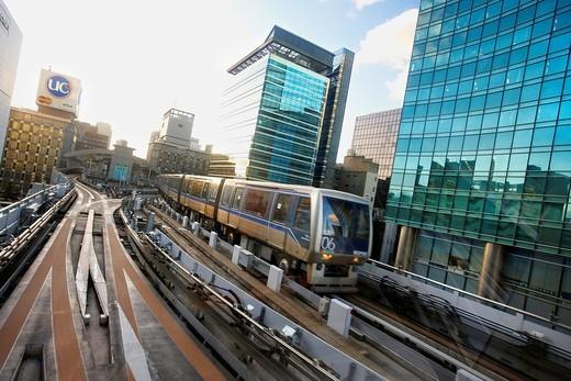 Stock Photo: 1566-649554 Shiodome, Yurikamome line, Monorail train, Tokyo, Japan.