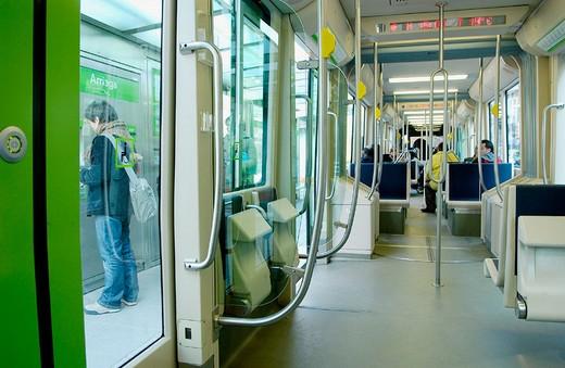 Stock Photo: 1566-650081 Tramway. Arriaga stop. Bilbao. Bizkaia. Euskadi. Spain.
