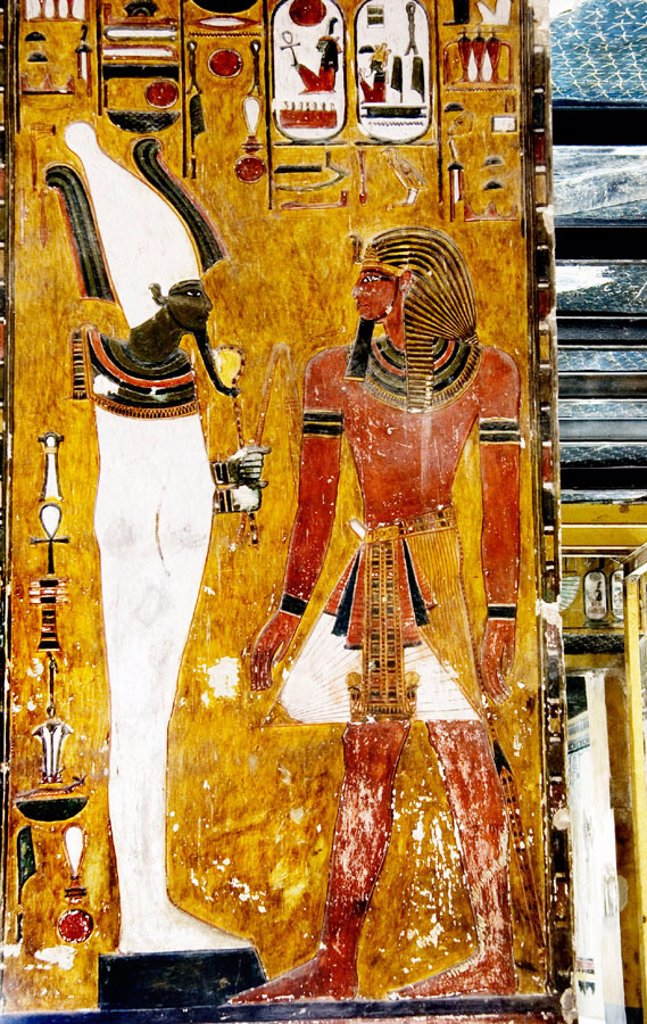 Stock Photo: 1566-650677 Mural paintings in the Tomb of Seti I. Valley of the Kings, Luxor West Bank. Egypt