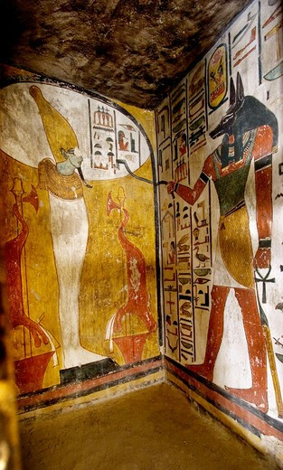 Stock Photo: 1566-650683 Mural paintings in the Tomb of Seti I. Valley of the Kings, Luxor West Bank. Egypt