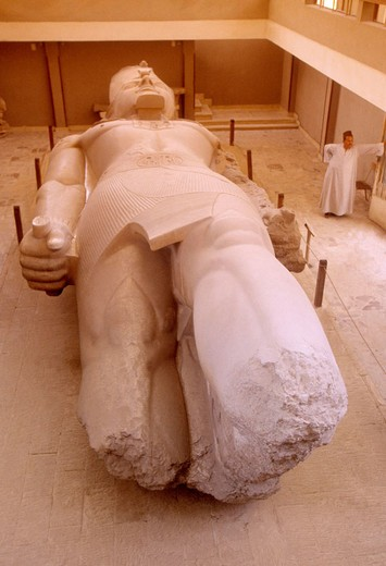 Stock Photo: 1566-650791 Ramses II statue (XIX dyn.-1290 BC), at the Memphis Museum. Memphis. Egypt.