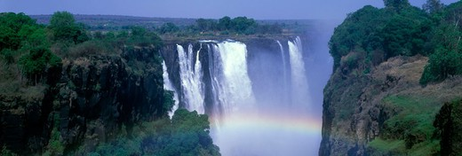 Rainbow, Scenic main waterfalls, Victoria falls, zimbabwe. : Stock Photo
