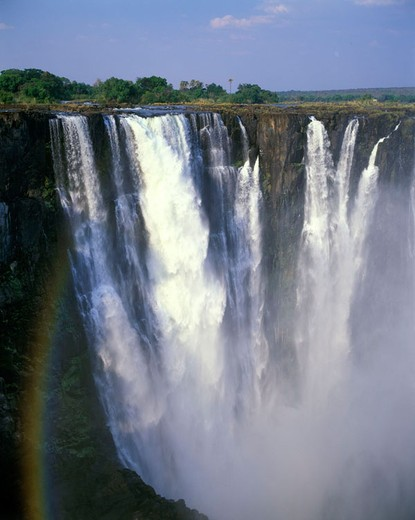 Scenic rainbow, Main waterfalls, Victoria falls, zimbabwe. : Stock Photo