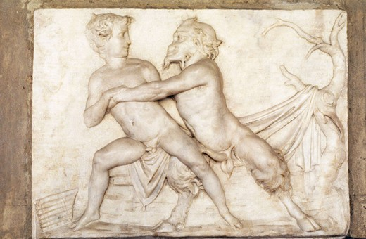 Pan and Olympus relief dating from the Florentine School in the 16th century, Museo Nazionale del Bargello, Florence. Italy : Stock Photo