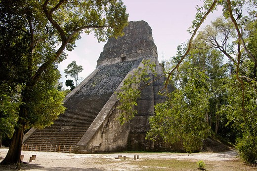 Temple V. Mayan ruins of Tikal. Peten region, Guatemala : Stock Photo